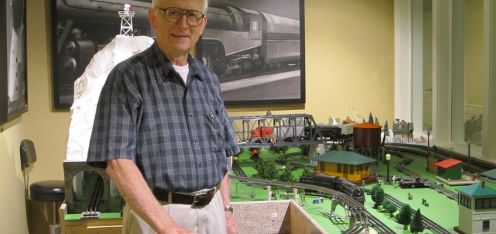 "Dr. David Vandersall opened the Hoosier Village train room this month. ""I was always fascinated with trains,"" Vandersall said. (Photo by Sophie Pappas)"