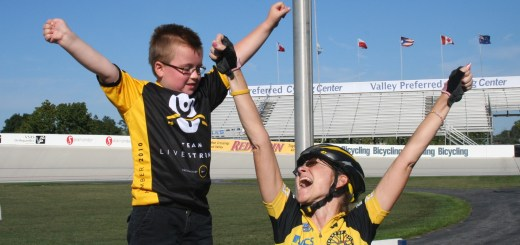 Spokes of Hope participant and organizer Cindy Hart rejoices after a ride through Indianapolis. (Submitted photo courtesy of Ken Hart)