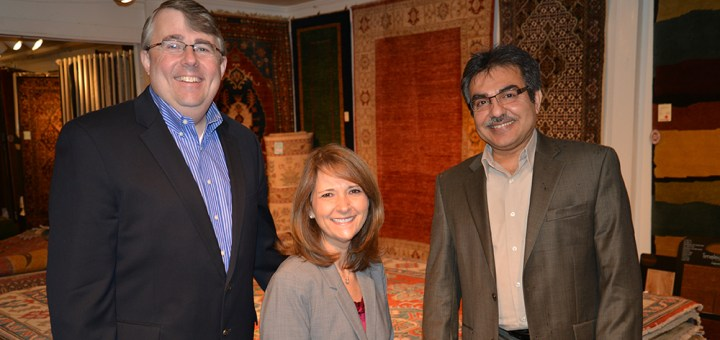 From left: The Rug Gallery Team, Tom and Karen King and Sam Habibi. (Photo by Dawn Pearson)