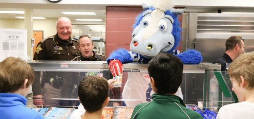 Colts mascot Blue joined members of the Boone County Sheriff's Office to serve breakfast to students.
