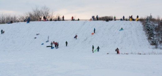 The hill at Mulberry Fields is a favorite place for sledding in Zionsville. (File photo by Ann Marie Shambaugh)
