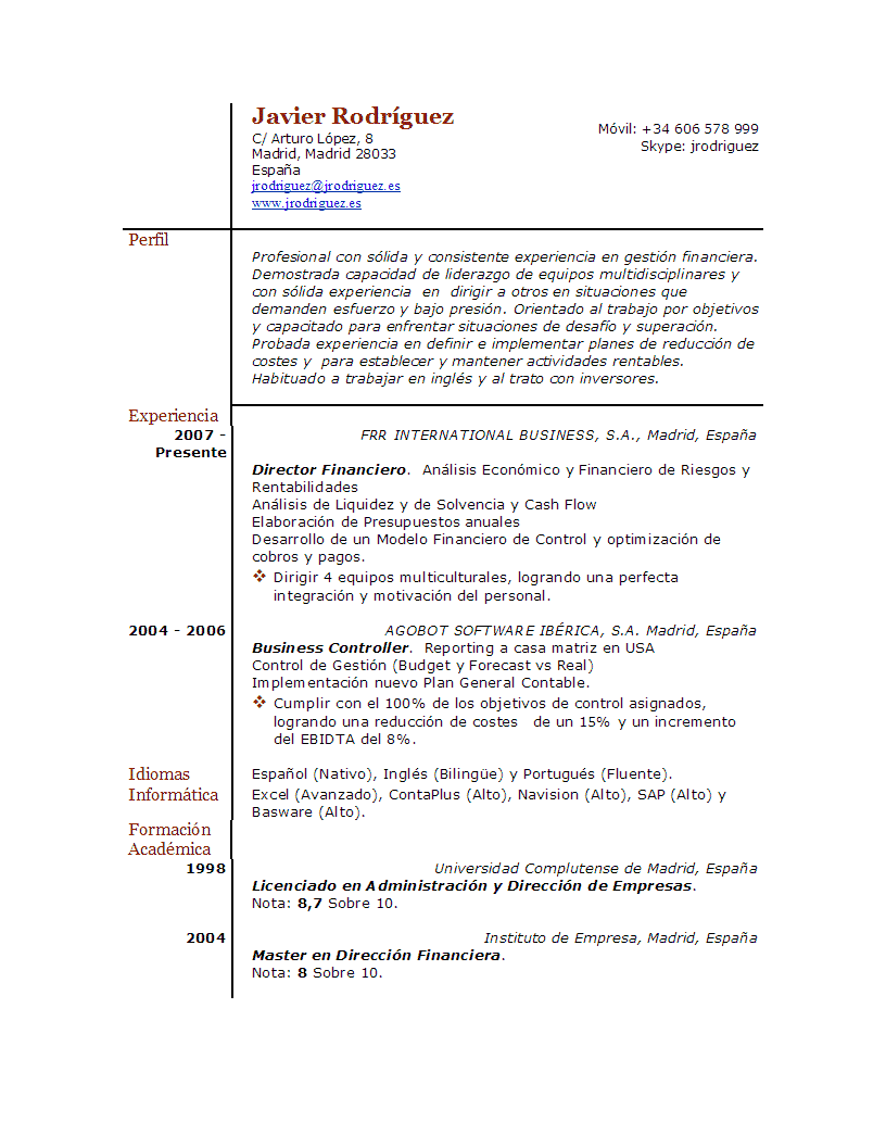 Curriculum Vitae Modelo Word Chile | Resume Pdf Download