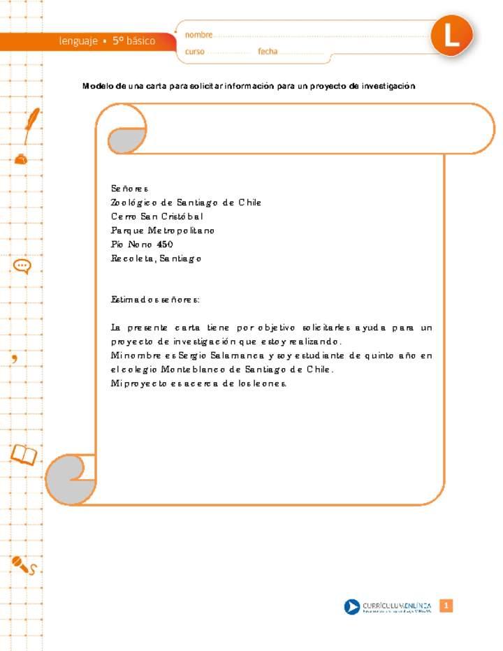 Modelo de una carta para solicitar información para un proyecto de