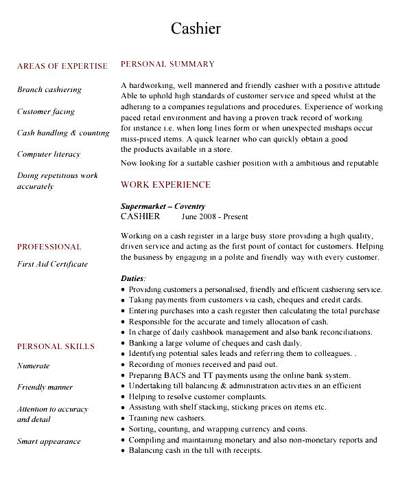sample cashier experience resume high school