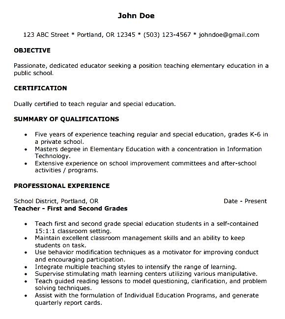 example of cover letter resume for teacher