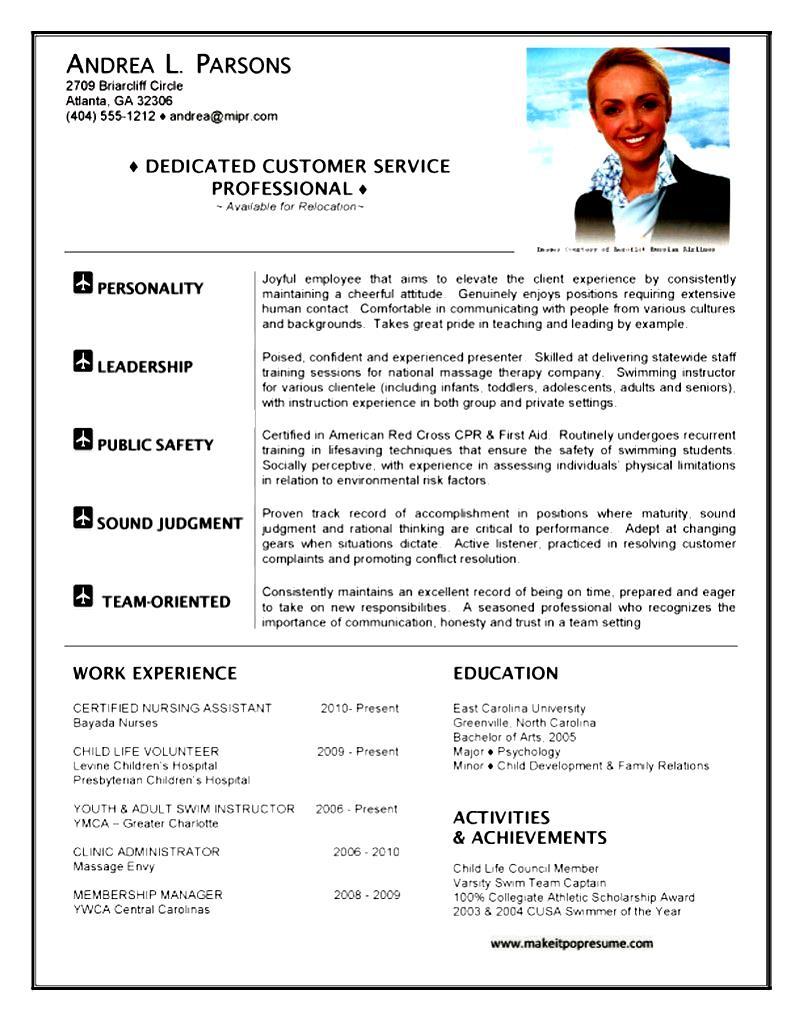 resume qualifications for flight attendant