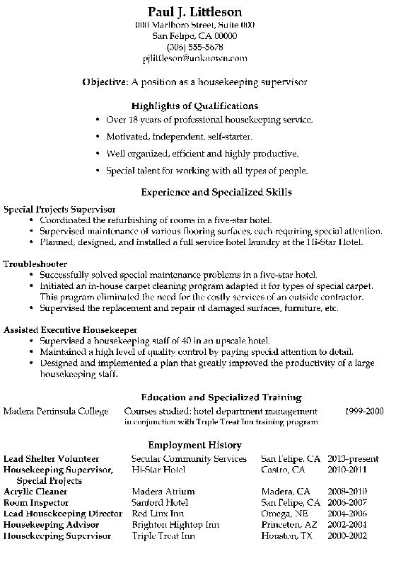 Housekeeping Resume Example - Examples of Resumes