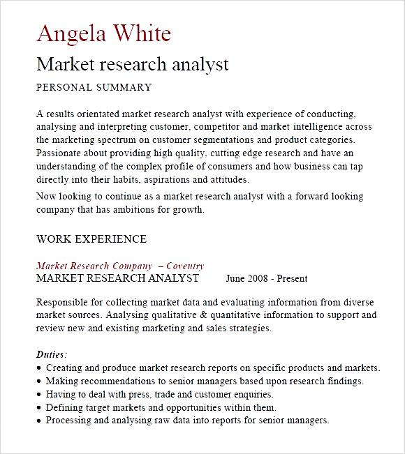 Market research resume examples