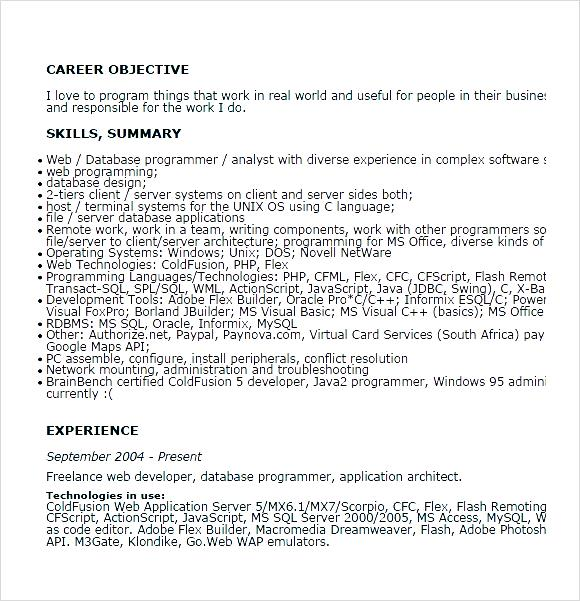 Sample Web Developer Resume  Examples In Word Pdf Software