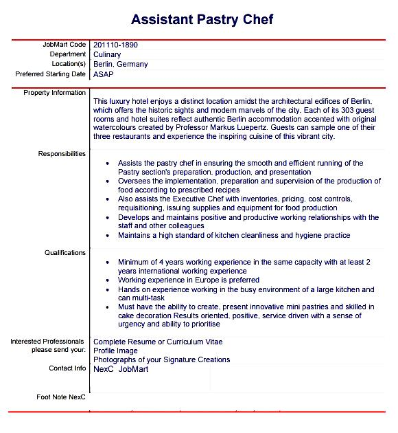 Sample Of Curriculum Vitae For Chef Chef Resume Free Downloadable Cv Template Examples Pastry Chef Resume Template Free Samples Examples