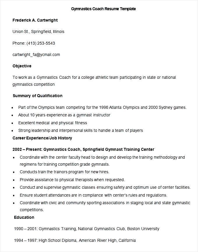 gymnastics coach sample resume
