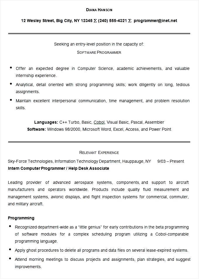programmer resume examples 2016