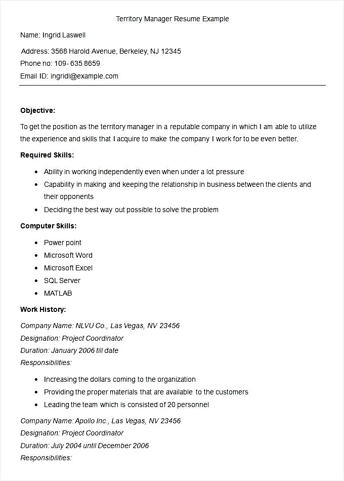 Territory Manager Resume colbro
