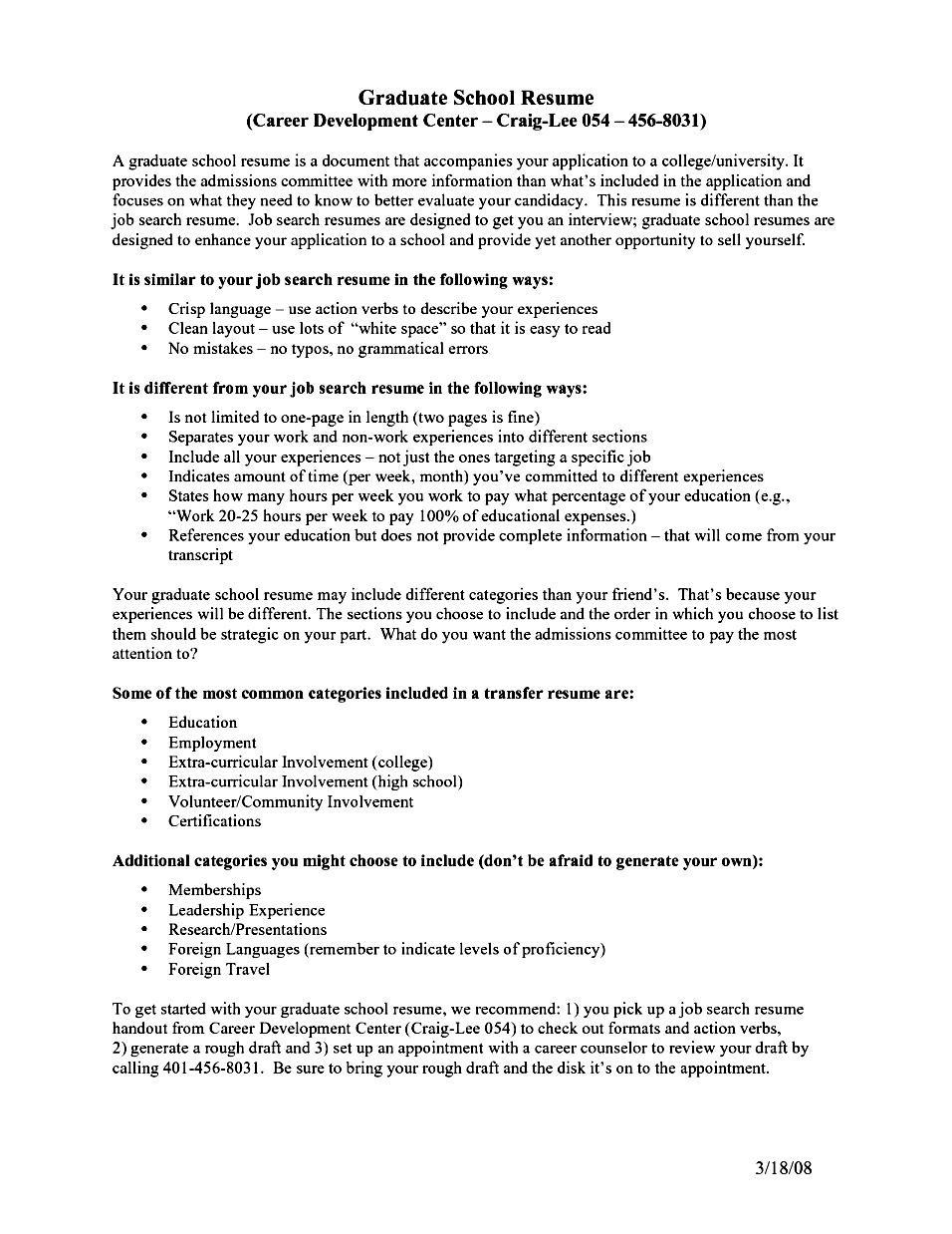 sample cv for graduate school