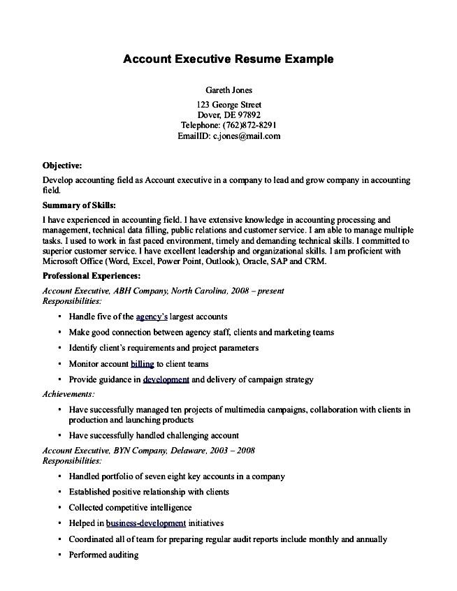 resume format of accounts executive radiovkm - resume format for accounts executive