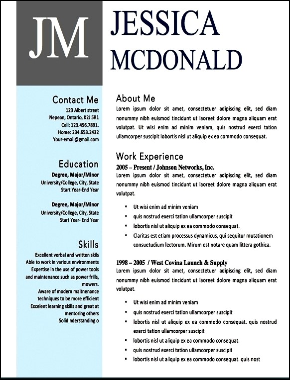 Free Modern Resume Templates Microsoft Word - Free Samples - microsoft word resume templates free