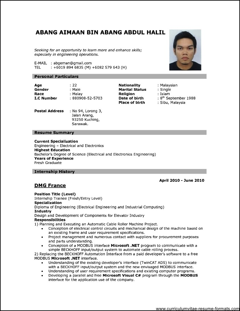download curriculum vitae format - Konipolycode