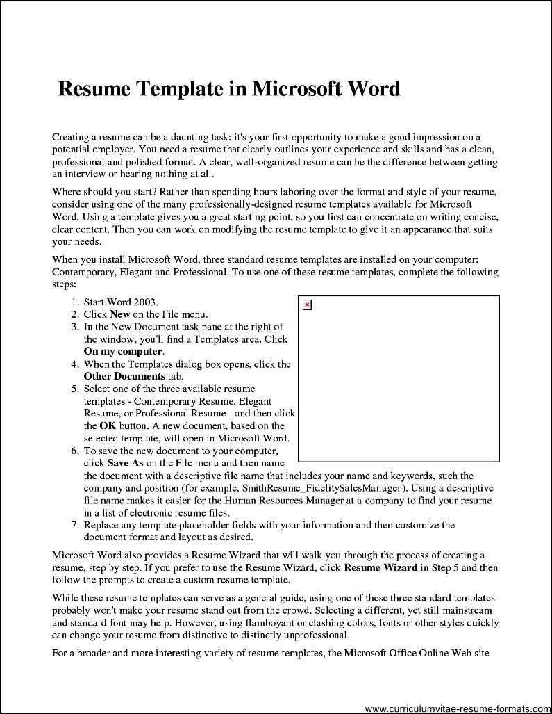 free resume templates on microsoft word 2007