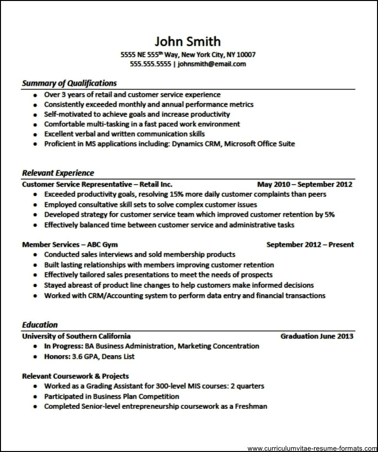 Sample Resume Format For Experienced It Professionals Free Download
