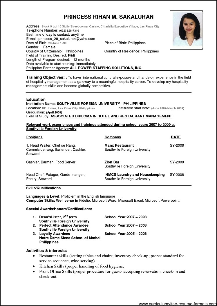 resume format download doc