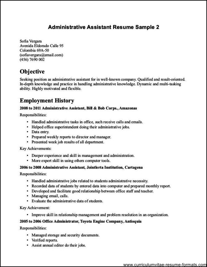 sample resume receptionist administrative assistant - objective for office assistant