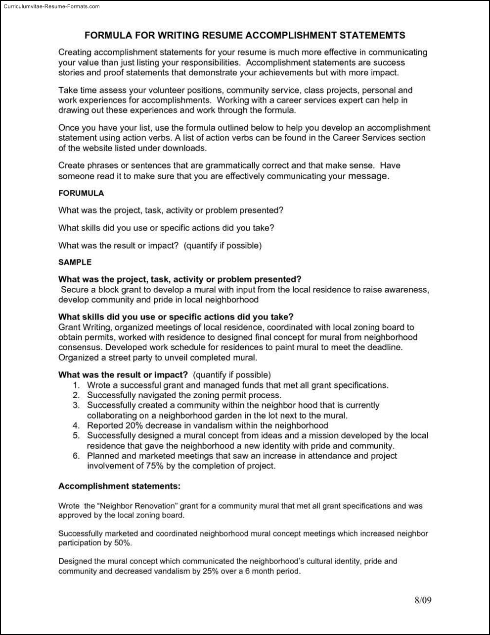 accomplishment based resume example