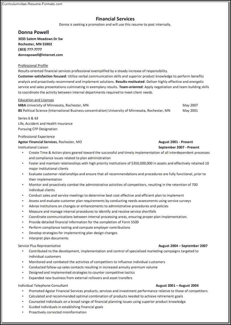 free sample resume formats
