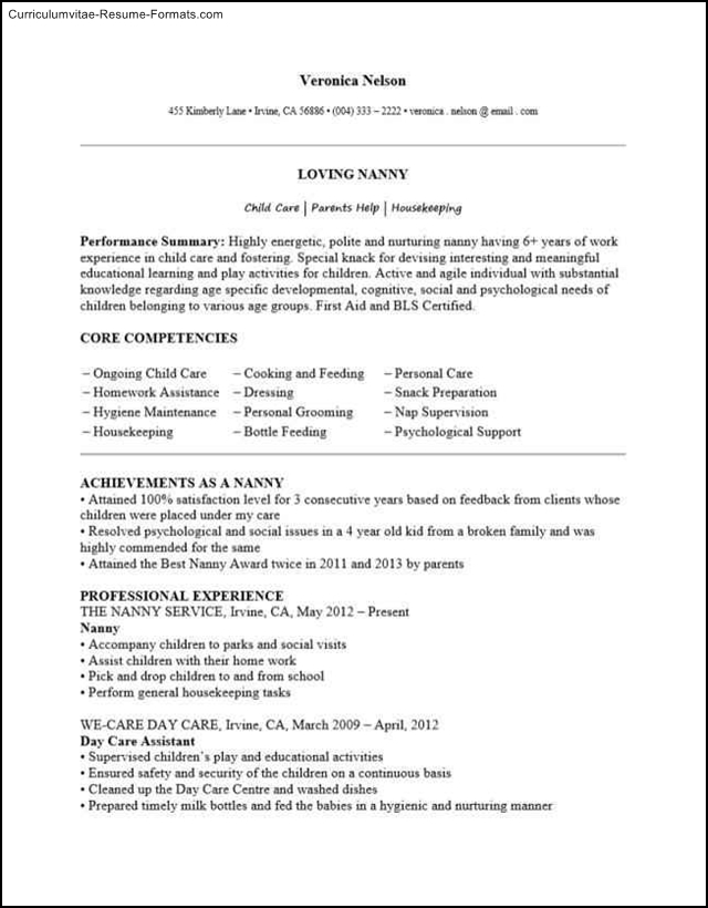 Top Result 60 Unique Sample Nanny Resumes Pic 2017 Shdy7 2017 - Free - nanny resume templates free