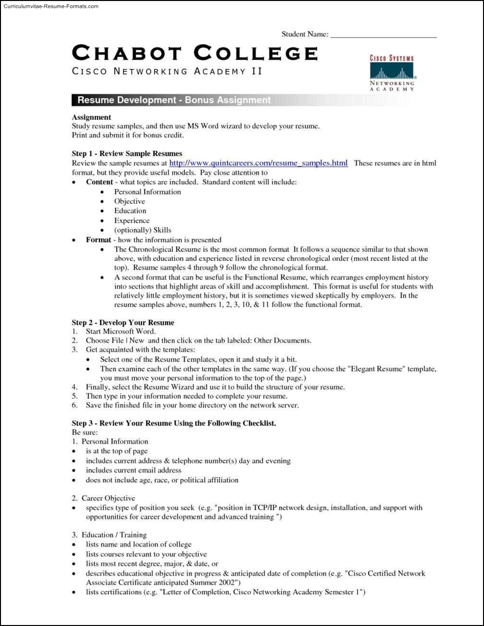 Resume guides college students