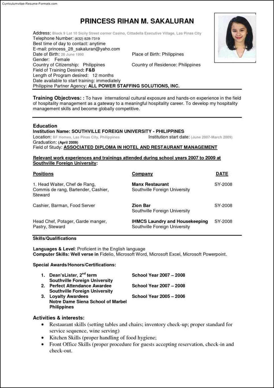 Internal Employment Application Sample And Procedures International Resume Template Free Samples Examples