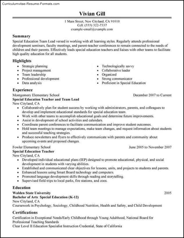 resume template for leadership position
