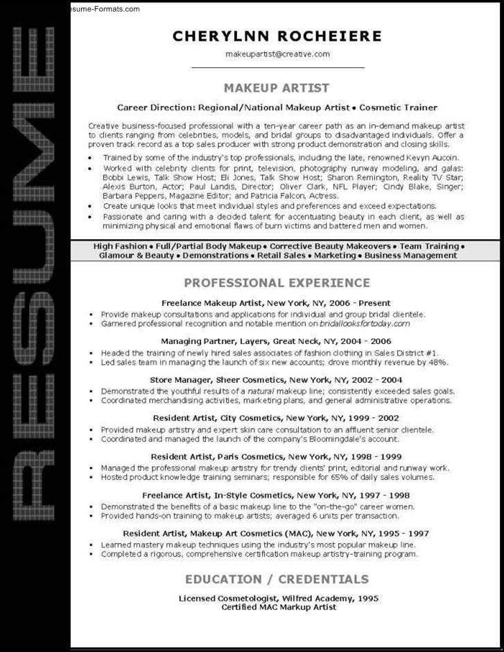 Artist Resume Template Artist Cv Template Cv Template - 20+ Free - makeup artist resume examples