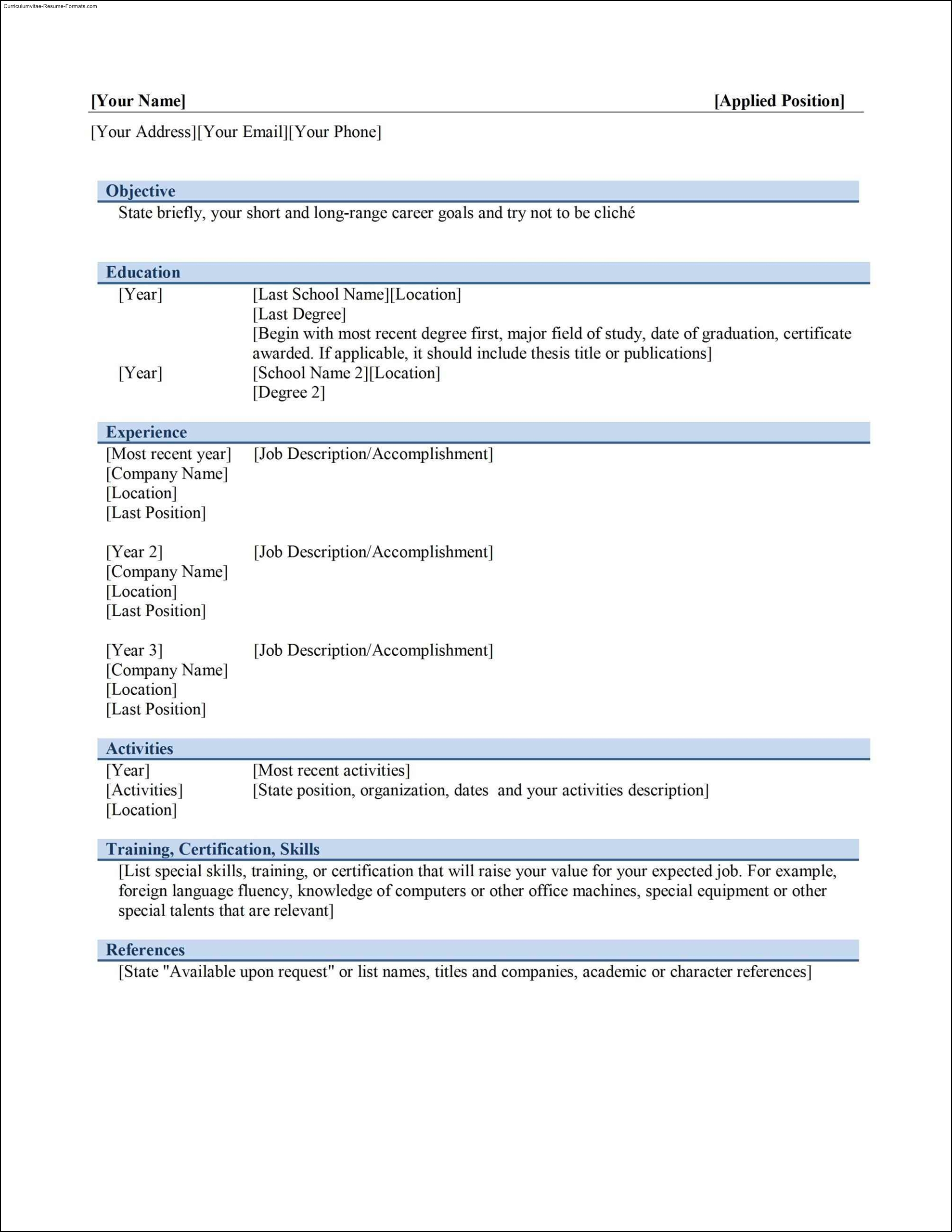 absolutely free resume templates Template – Absolutely Free Resume Templates