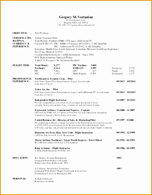 pilot resume template - airline pilot resume