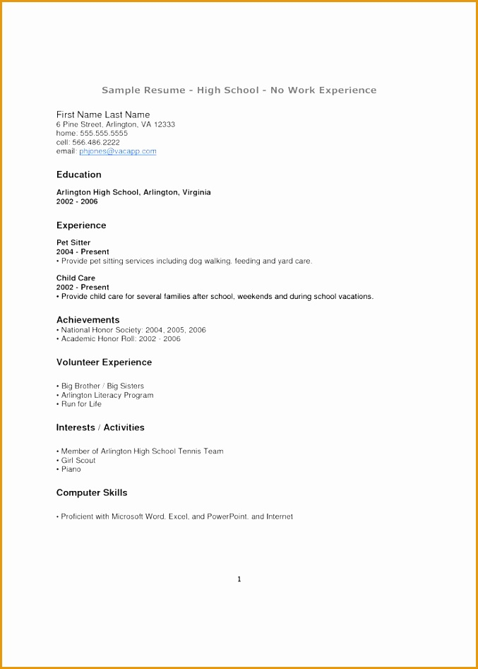 8 Resume Sample for High School Students with No Experience - Free - examples of resumes for high school students