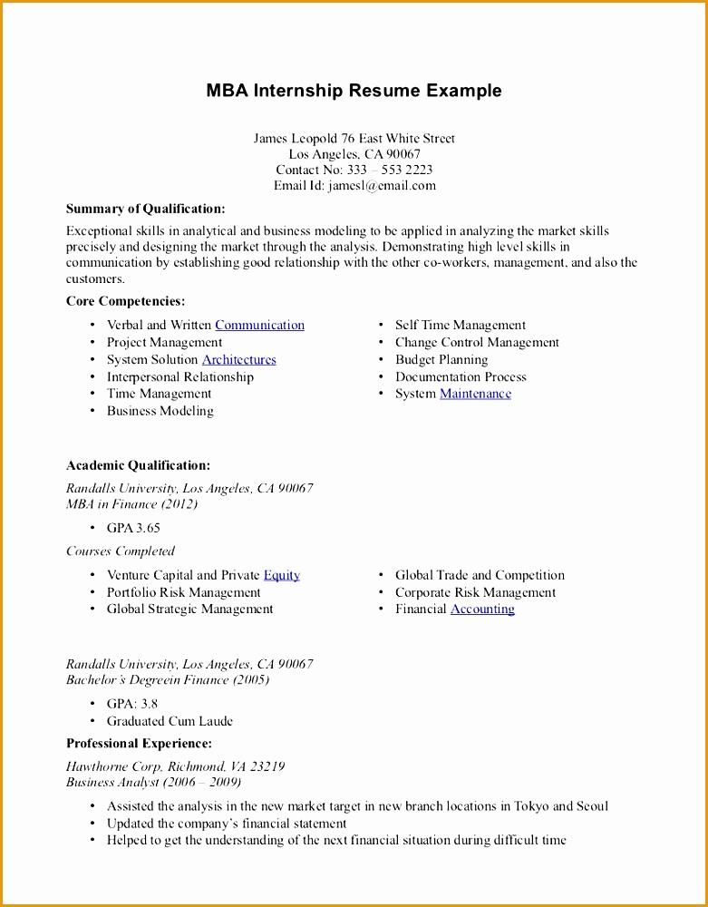 resume example internship