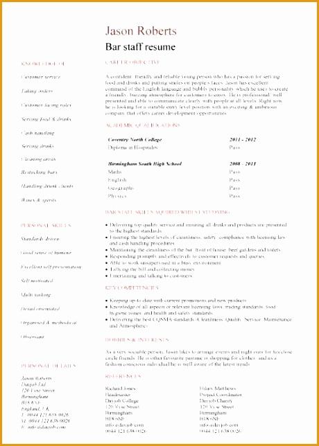 Resume For Bar Job