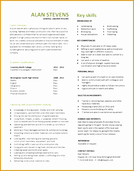 resume qualifications laborer