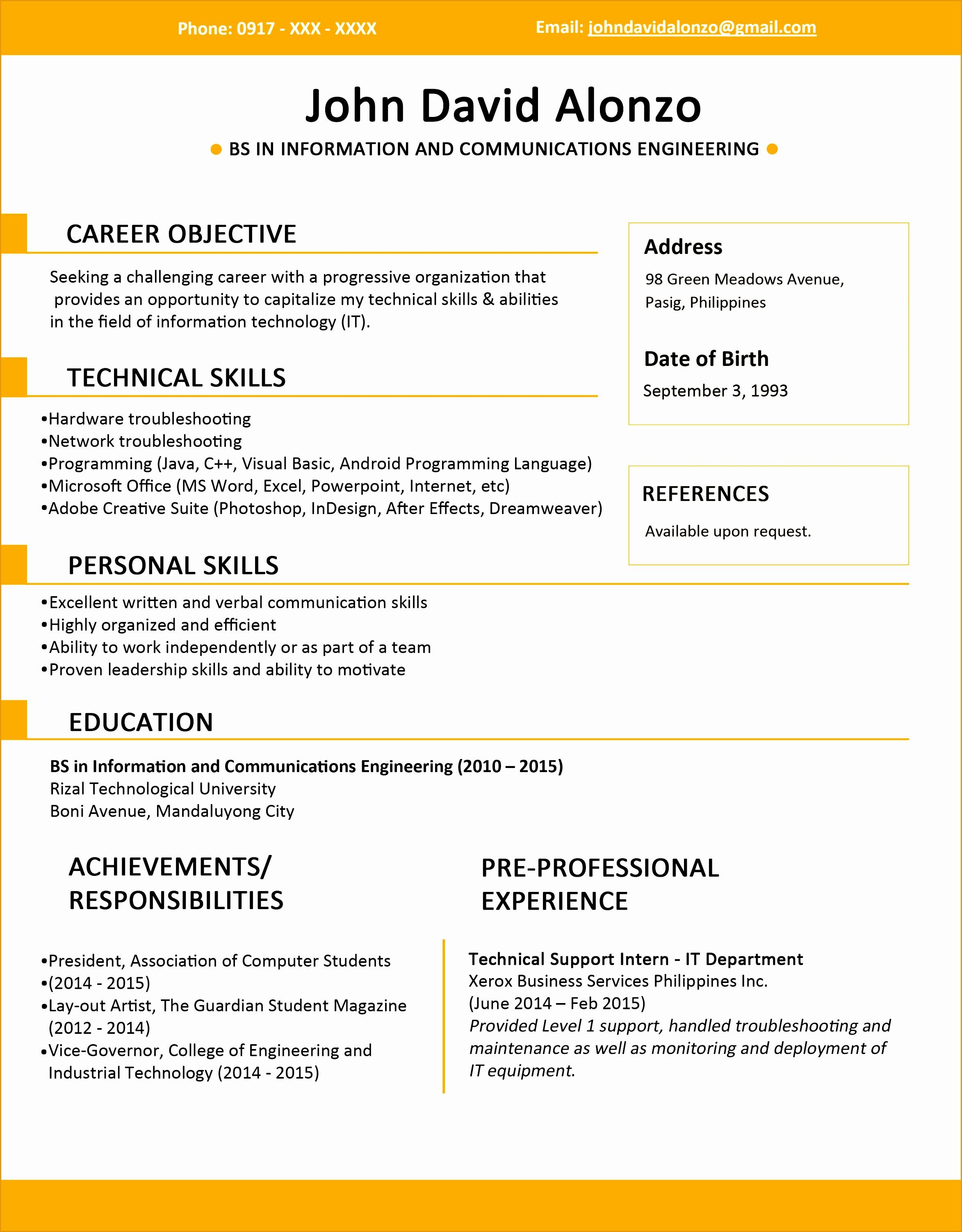 resume sample jobstreet