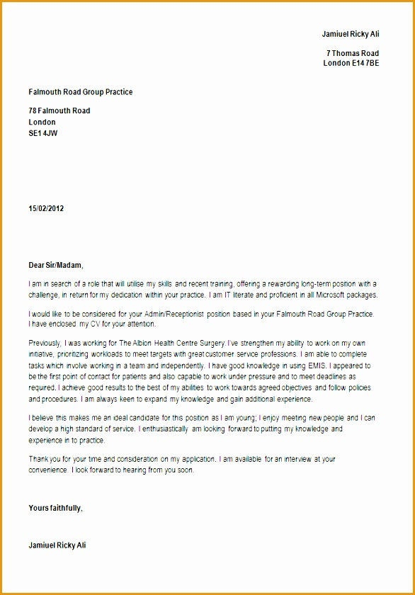 cover letter example for medical receptionist