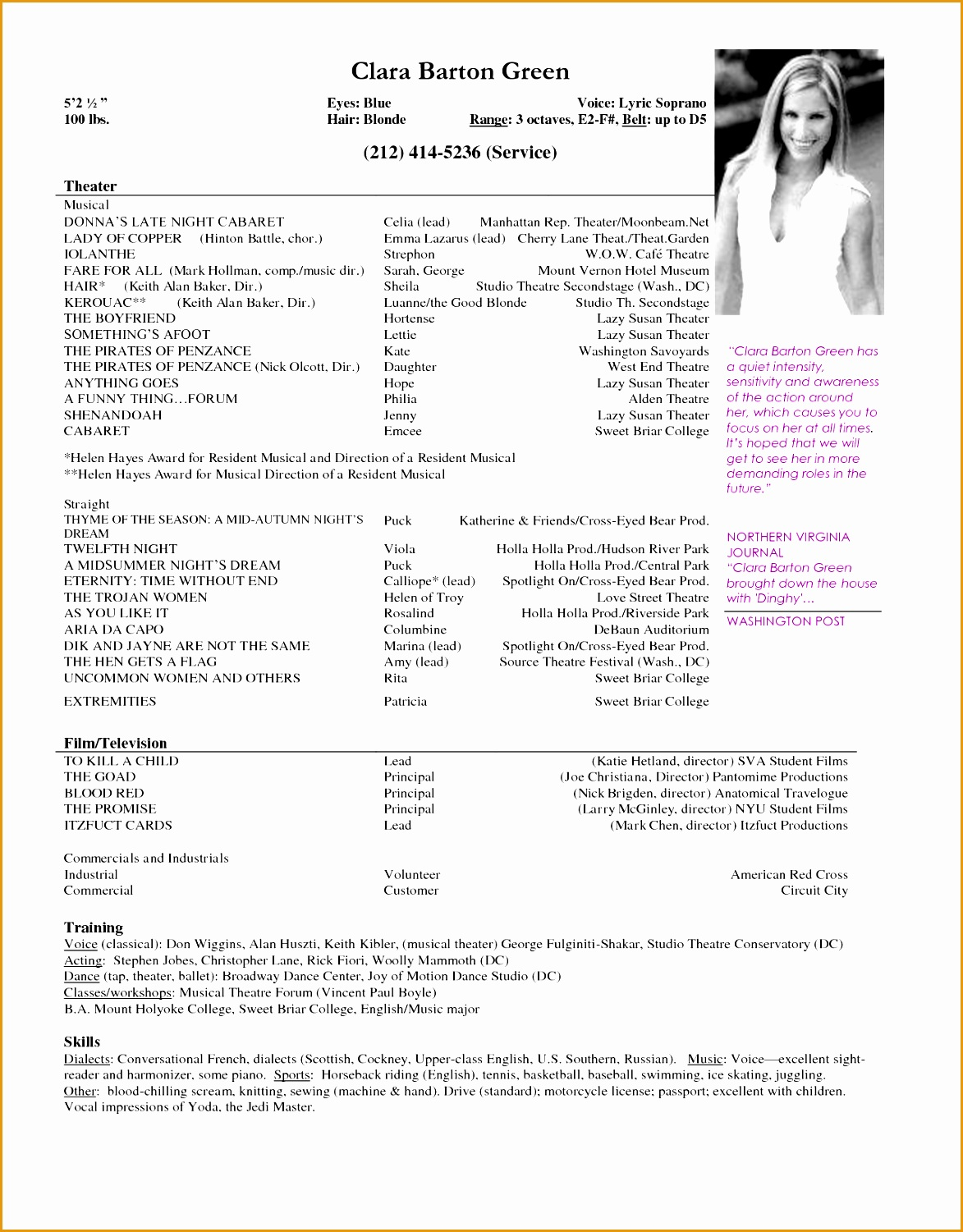 examples of musical theatre resumes