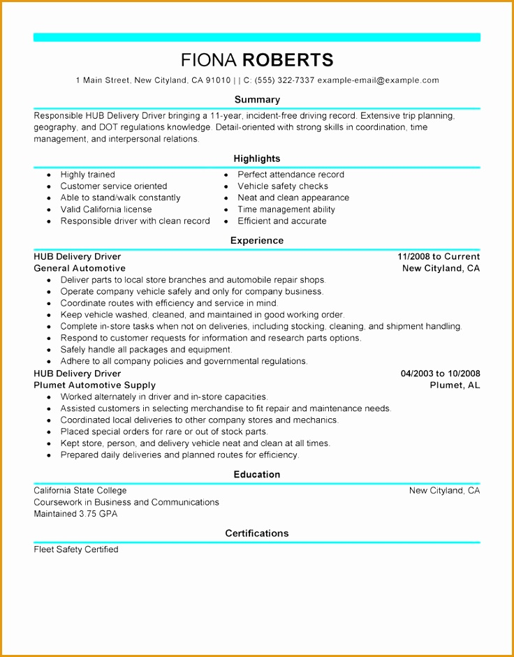 delivery driver resume example doc