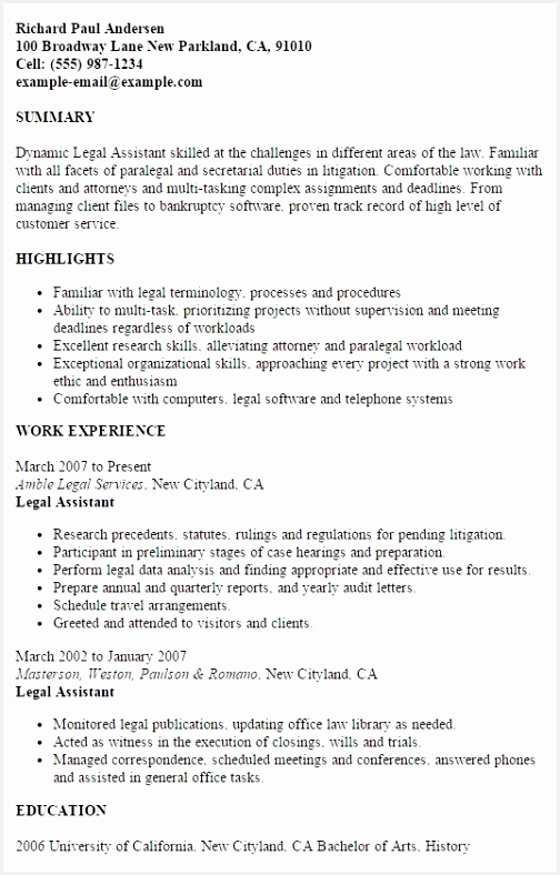 resume formats 2019 examples paralegal