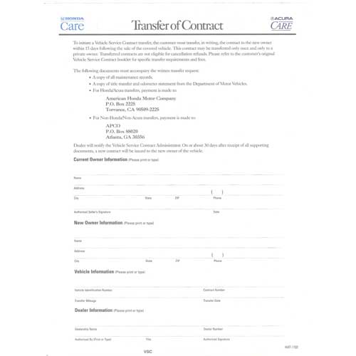 Honda Care documents, Brochures, contracts, application