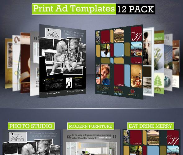 Print Ad Templates 12-Pack Magazine Ads for Photoshop Cursive Q