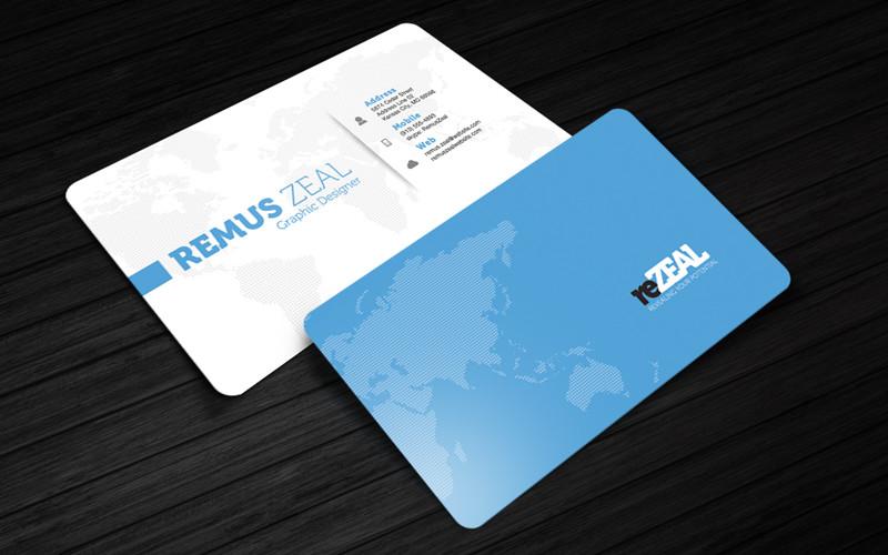 reZEAL - Free Corporate Business Card Photoshop Template Cursive Q