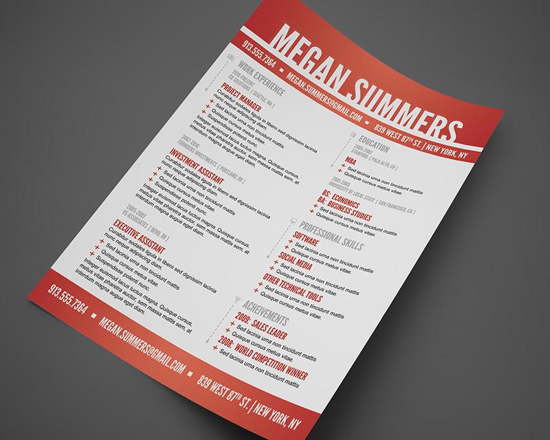Free Modern Swiss Style Resume / CV PSD Template Cursive Q Designs