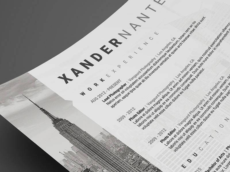 Photographer Resume Template - Photoshop PSD Cursive Q