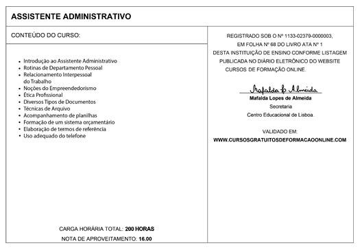 CURSOS GRATUITOS DE FORMAÇÃO ONLINE Certificação Internacional - modelos de certificados