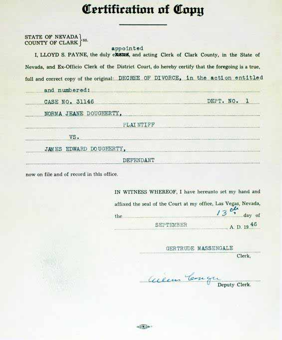 Marilyn Monroe - September 13 1946 - Copy of Decree of Divorce - Recent College Grad Resume